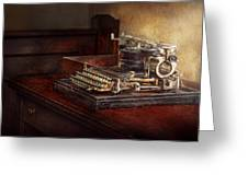 Steampunk - A Crusty Old Typewriter Greeting Card by Mike Savad