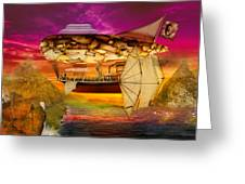 Steampunk - Blimp - Everlasting Wonder Greeting Card by Mike Savad