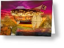 Steampunk - Blimp - Everlasting Wonder Greeting Card by Mike Savad