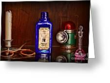 Steampunk Bottled Light Greeting Card by Paul Ward