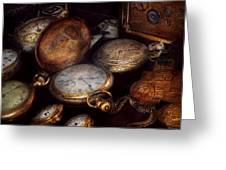 Steampunk - Clock - Time worn Greeting Card by Mike Savad