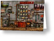 Steampunk - Coffee - The Company Coffee Maker Greeting Card by Mike Savad