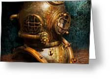 Steampunk - Diving - The diving helmet Greeting Card by Mike Savad
