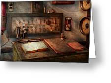 Steampunk - Electrical - My 9 To 5 Job  Greeting Card by Mike Savad