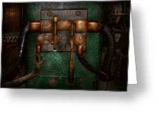 Steampunk - Electrical - Pull The Switch  Greeting Card by Mike Savad