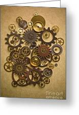 Steampunk Gears Greeting Card by Diane Diederich