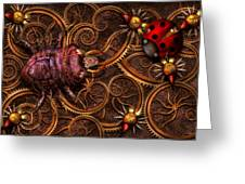Steampunk - Insect - Itsy Bitsy Spiders Greeting Card by Mike Savad