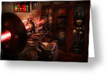 Steampunk - Photonic Experimentation Greeting Card by Mike Savad