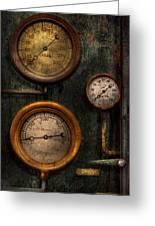 Steampunk - Plumbing - Gauging Success Greeting Card by Mike Savad