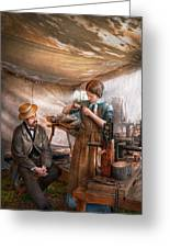 Steampunk - The Apprentice Greeting Card by Mike Savad