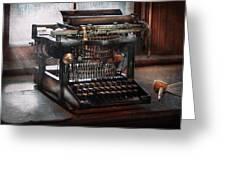 Steampunk - Typewriter - A Really Old Typewriter  Greeting Card by Mike Savad