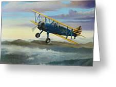 Stearman Biplane Greeting Card by Stuart Swartz