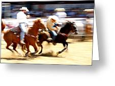 Steer Wrestling Greeting Card by Bill Keiran