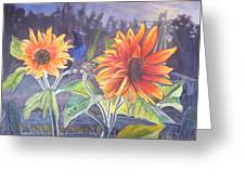 Stellar Sunflower Greeting Card by Rayna DeHoog