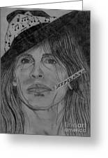 Steven Tyler Portrait Drawing Greeting Card by Jeepee Aero