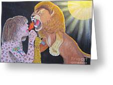 Steven Tyler Versus Lion Greeting Card by Jeepee Aero