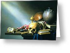 Still Life An Allegory Of The Vanities Of Human Life Greeting Card by Harmen van Steenwyck