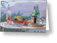Still Life And Seashore Bandol Greeting Card by Sarah Butterfield