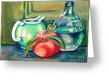 Still Life Of Peach Pitcher And Decanter Of Water Greeting Card by Julia Gatti