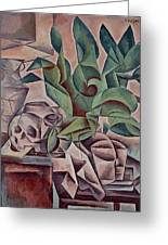Still Life Showing Skull Greeting Card by Kubista Bohumil