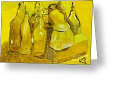 Still Life Study In Yellow Greeting Card by Greg Mason Burns