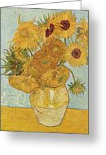 Still Life Sunflowers Greeting Card by Vincent Van Gogh