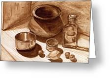 Still Life Walnut Ink Greeting Card by Mukta Gupta