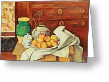 Still Life With A Chest Of Drawers Greeting Card by Paul Cezanne