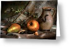 Still Life With Apples And Pears And Thistle Greeting Card by Hugo Bussen
