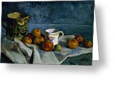 Still Life with Apples Cup and Pitcher Greeting Card by Paul Cezanne