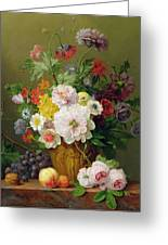 Still Life With Flowers And Fruit Greeting Card by Anthony Obermann