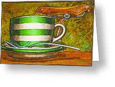 Still Life With Green Stripes And Saddle Greeting Card by Mark Howard Jones