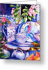 Still Life With  Japanese Plate And Apple Blossom Greeting Card by Trudi Doyle