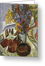 Still Life With Jug And African Bowl Greeting Card by Ernst Ludwig Kirchner