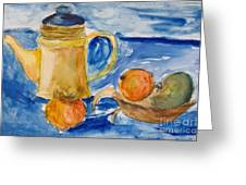 Still Life With Kettle And Apples Aquarelle Greeting Card by Kiril Stanchev