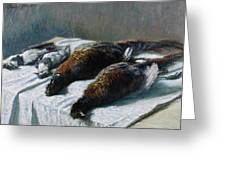 Still Life With Pheasants And Plovers Greeting Card by Claude Monet