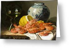 Still Life With Prawns And Lemon Greeting Card by Edward Ladell