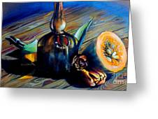 Still Life With Pumpkin And Tulips Greeting Card by Alessandra Andrisani