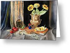 Still Life With Sunflowers Lemon Apples And Geranium  Greeting Card by Irina Sztukowski