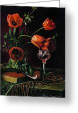 Still Life With Tulips - Drawing Greeting Card by Natasha Denger