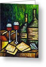Still Life With Wine And Cheese Greeting Card by Kamil Swiatek