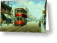 Stockport Tram. Greeting Card by Mike  Jeffries