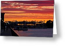 Stockton Sunset Greeting Card by Randy Bayne
