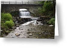 Stone Bridge Over Small Waterfall Greeting Card by Christina Rollo