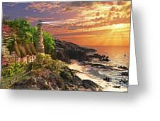 Stoney Cove Lighthouse Greeting Card by Dominic Davison