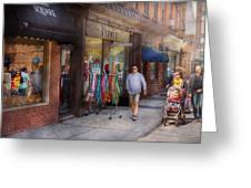 Store Front - Hoboken Nj - People Greeting Card by Mike Savad
