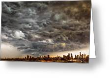 Storm Coulds Over Nyc Greeting Card by Jerry Fornarotto