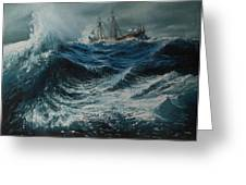 Storm In The Sea Greeting Card by Shobita Sreekumar