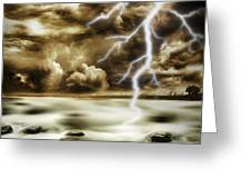 Storm Greeting Card by Les Cunliffe