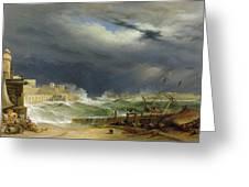 Storm Malta Greeting Card by John or Giovanni Schranz
